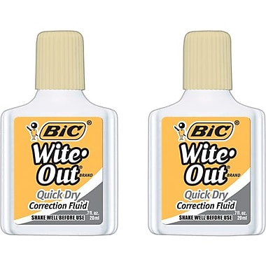 bic wite out brand correction fluids quick dry buff 2 pack