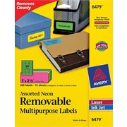 "Avery® 6479 Removable Assorted Neon Organization Labels, 1"" x 2-5/8"", 360/Pack"