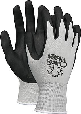Memphis Economy Foam Nitrile Gloves, Medium, Gray/Black, 12 Pairs 863162
