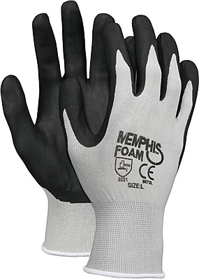 Memphis™ Economy Foam Nitrile Gloves, Medium, Gray/Black, 12 Pairs