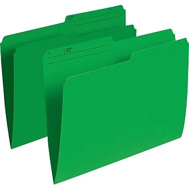 Staples® – Chemises de classement de couleur, format lettre, 8 1/2 po x 11 po, vert, paq./100
