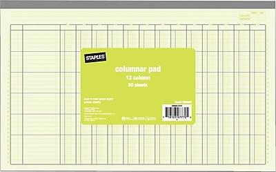 Staples® Columnar Pads, 13 Column, 13-5/16