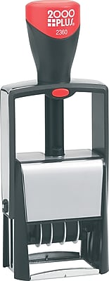 2000Plus® Two-Color Self-Inking 4-in-1 Phrase & Date Stamp, 1-3/4