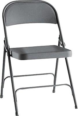 Alera Steel Folding Chairs, Steel, Graphite, Seat: 15 3/4