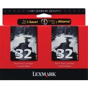 Lexmark™ – Cartouches d'encre noire 32, paquet double (53A3912)