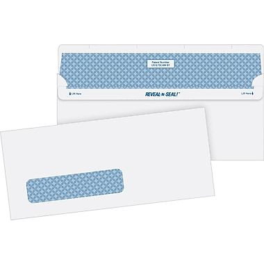Quality Park Reveal-N-Seal™ Self-Sealing Security Tinted Window #10 Envelopes, 4 1/8