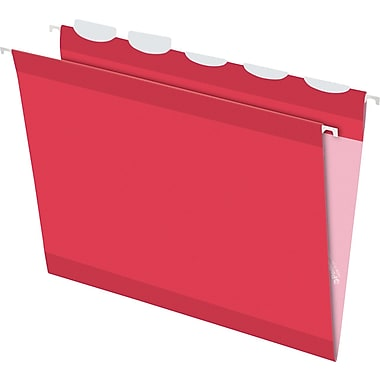 Pendaflex® Ready-Tab® Reinforced Hanging Folders, 5-Tab, Letter, Red, 25/Box (42623)