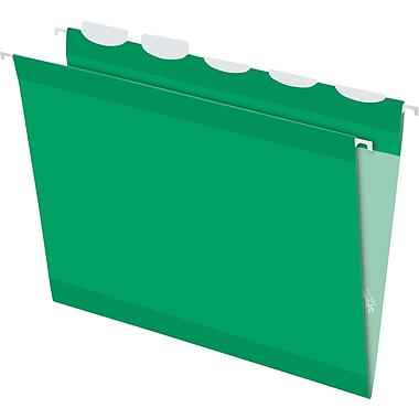 Pendaflex® Ready-Tab® Reinforced Hanging Folders, 5-Tab, Letter, Bright Green, 25/Box (42626)