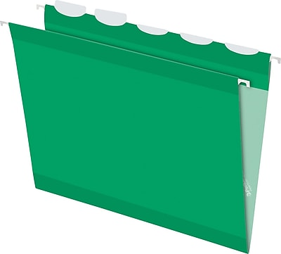 Pendaflex® Ready Tab® Hanging File Folders, Letter, 1/5-Cut, Bright Green