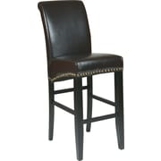 "OSP Designs® Metro Bonded Leather 30"" Parsons Stool w/ Nail Heads, Espresso"