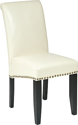 OSP Designs Metro Bonded Leather Parsons Chair with Nail Heads, Cream, 1, MET87CM