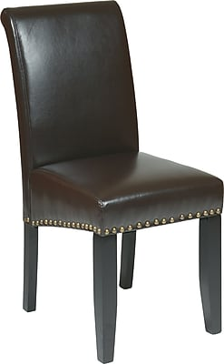 Office Star MET87 Leather/Wood Dining Chair, Espresso