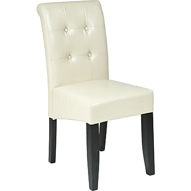 Office Star MET88 Leather/Wood Dining Chair, Cream