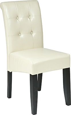 OSP Designs® Metro Bonded Leather Button Back Parsons Chair, Cream