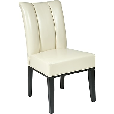 OSP Designs® Metro Bonded Leather Pleated Back Parsons Chair, Cream