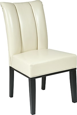 OSP Designs® Metro Bonded Leather Pleated Back Parsons Chair; Cream