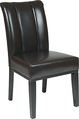OSP Designs® Metro Bonded Leather Pleated Back Parsons Chair; Espresso