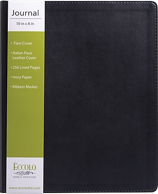 Eccolo Simply Black Desk Size Flexible Journal, Black Faux Leather, Journal Ruled, 8