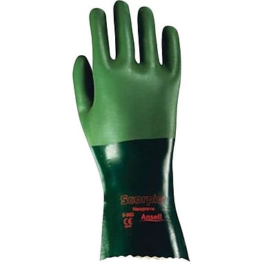 Ansell® Scorpio® Neoprene Coated Gloves, Interlock Knit, Gauntlet Cuff, Large, Green, 12 Pairs