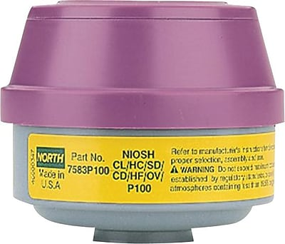 North Safety Combination Gas and Vapor Cartridge, P100, Chlorine, Chlorine Dioxide