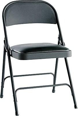 Alera Steel Folding Chair, Vinyl, Graphite, Seat: 15 3/4