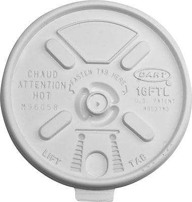 Dart® Lift 'n' Lock™ Foam Cup Lids, 16 oz., White, 1000/Carton (16FTL)