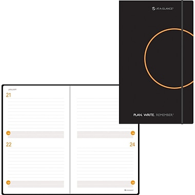 AT-A-GLANCE® Two-Days-Per-Page Planning Notebook, Black, 5-1/8
