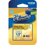 "Brother® M Series Non-Laminated Label Tape, 1/2"" x 26-1/5', Black on Gold"