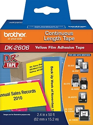 Brother Continuous Roll Film, DK2606, Black/Yellow, 2 3/7