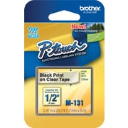 "Brother® M Series Non-Laminated Label Tape, 1/2"" x 26-1/5', Black on Clear"