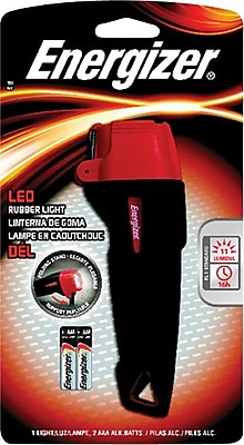Energizer® LED Rubber Flashlight, Black/Red, AAA Batteries Included