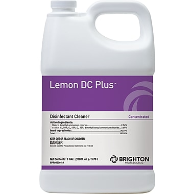 Brighton Professional™ Lemon DC Plus™ Disinfectant Cleaner, Lemon Scent, 1 gal. (BPR045001-A/185)