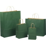 "Shamrock Tinted Color Shadow Forest Green with Stripe Shopping Bag, Size 8"" W x 4-3/4 D x 10-1/2"" H"