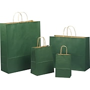 """Tinted Color Shadow Forest Green with Stripe Shopping Bag, Size 8"""" W x 4-3/4 """" D x 10-1/2"""" H"""