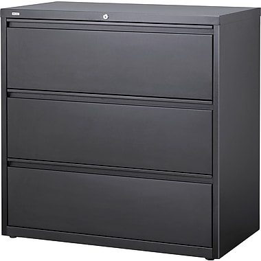 Hirsh HL10000 Series Lateral File 3-Drawer Cabinet, Charcoal