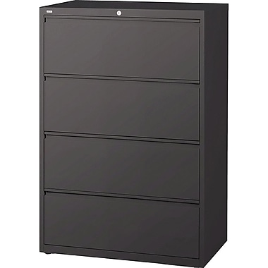 Hirsh HL10000 Series Lateral File Cabinet, 4-Drawer, Charcoal