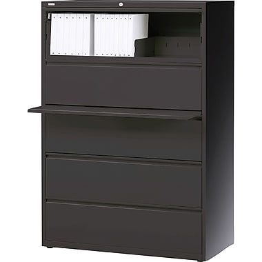 Hirsh HL10000 Series 5-Drawer Lateral File Cabinet, Charcoal
