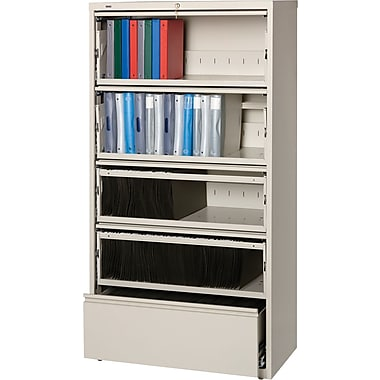 Hirsh HL 8000 Series End Tab 5-Drawer Lateral File Cabinet, Putty