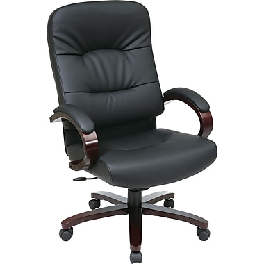 Office Star™ Leather Executive Office Chair, Black and Mahogany, Fixed Arm (WD5330-EC3)