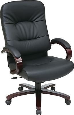 Office Star 5300 Series High-Back Black Leather Executive Chair, Seat: 21