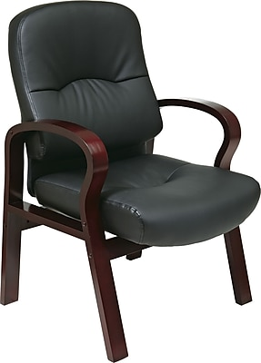 Office Star™ Elegant Wood Finish Series Bonded Leather Guest Chair, Black and Mahogany