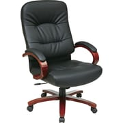 Office Star Leather Executive Office Chair, Black, Fixed Arm (WD5670-EC3)