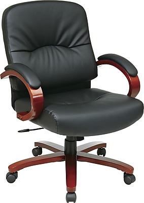 Office Star™ Leather Executive Office Chair, Black and Cherry, Fixed Arm (WD5671-EC3)