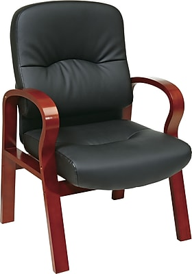 Office Star™ Elegant Wood Finish Series Bonded Leather Guest Chair, Black and Cherry