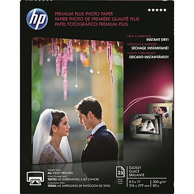 HP® - Papier photo Premium Plus, lustré, 8 1/2 po x 11 po, paq./25