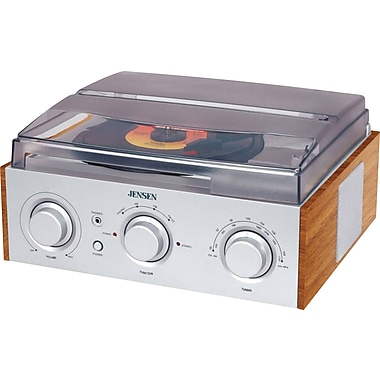 Jensen JTA-220 3-Speed Stereo Turntable with AM/FM Stereo Radio