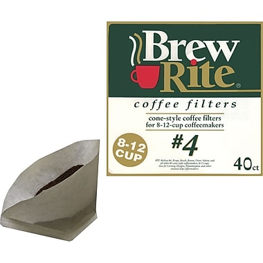 Brew Rite® 8-12 Cup #4 Cone Coffee Filters, 40/Pack