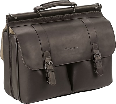 solo executive espresso leather laptop briefcase  d535
