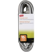 Staples 15' Extension Cord, 3-Outlet, Gray