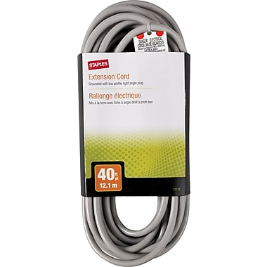 Staples 40' Extension Cord, Gray